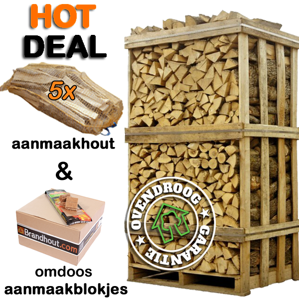 Brandhout berk | hele pallet (ca.120x80x200cm) | bloklengte 25cm | ca.1000 blokken | aanmaakhout | aanmaakblokjes