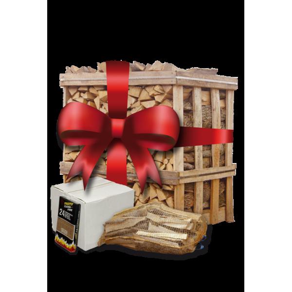 Kerstpallet | ca. 500 blokken berkenhout | 5 zakken aanmaakhout | omdoos aanmaakblokjes